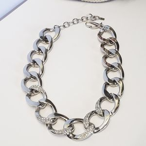 Amazing Silver tone & Crystal Statement Necklace